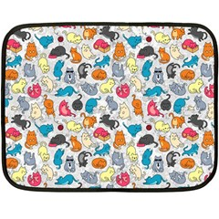 Funny Cute Colorful Cats Pattern Double Sided Fleece Blanket (mini)