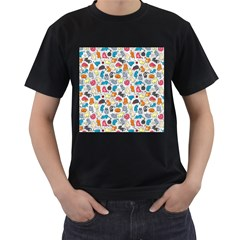 Funny Cute Colorful Cats Pattern Men s T Shirt (black)