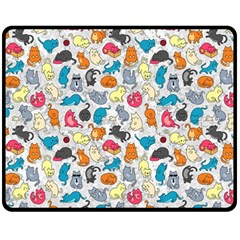 Funny Cute Colorful Cats Pattern Fleece Blanket (medium)