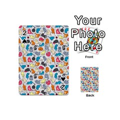 Funny Cute Colorful Cats Pattern Playing Cards 54 (mini)