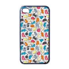 Funny Cute Colorful Cats Pattern Apple Iphone 4 Case (black)