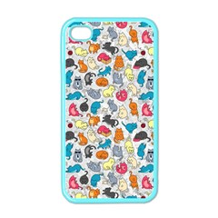 Funny Cute Colorful Cats Pattern Apple Iphone 4 Case (color)