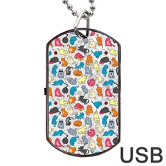 Funny Cute Colorful Cats Pattern Dog Tag Usb Flash (two Sides)