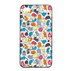 Funny Cute Colorful Cats Pattern Apple Iphone 4/4s Seamless Case (black)