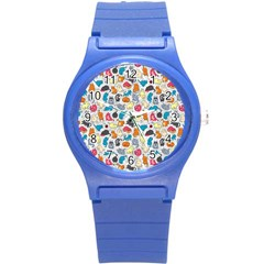 Funny Cute Colorful Cats Pattern Round Plastic Sport Watch (s)