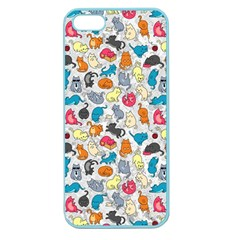 Funny Cute Colorful Cats Pattern Apple Seamless Iphone 5 Case (color)
