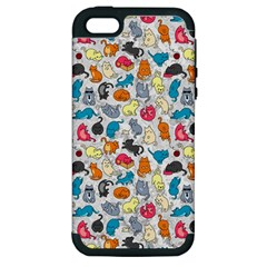 Funny Cute Colorful Cats Pattern Apple Iphone 5 Hardshell Case (pc+silicone)