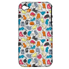 Funny Cute Colorful Cats Pattern Apple Iphone 4/4s Hardshell Case (pc+silicone)
