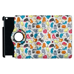 Funny Cute Colorful Cats Pattern Apple Ipad 2 Flip 360 Case