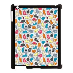 Funny Cute Colorful Cats Pattern Apple Ipad 3/4 Case (black)