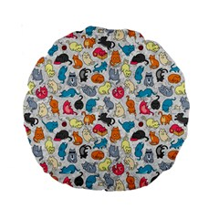 Funny Cute Colorful Cats Pattern Standard 15  Premium Round Cushions