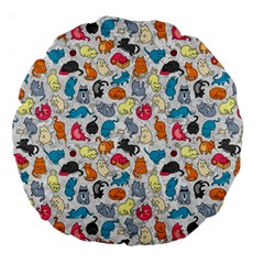 Funny Cute Colorful Cats Pattern Large 18  Premium Round Cushions
