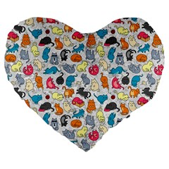 Funny Cute Colorful Cats Pattern Large 19  Premium Heart Shape Cushions