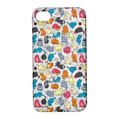 Funny Cute Colorful Cats Pattern Apple Iphone 4/4s Hardshell Case With Stand