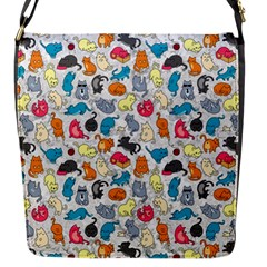 Funny Cute Colorful Cats Pattern Flap Messenger Bag (s) by EDDArt