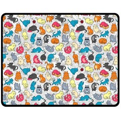 Funny Cute Colorful Cats Pattern Double Sided Fleece Blanket (medium)
