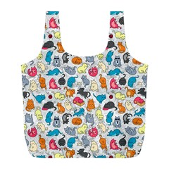 Funny Cute Colorful Cats Pattern Full Print Recycle Bags (l)