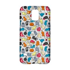 Funny Cute Colorful Cats Pattern Samsung Galaxy S5 Hardshell Case  by EDDArt