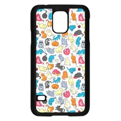 Funny Cute Colorful Cats Pattern Samsung Galaxy S5 Case (black)