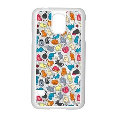 Funny Cute Colorful Cats Pattern Samsung Galaxy S5 Case (white)