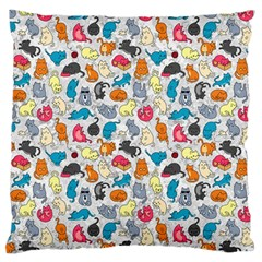 Funny Cute Colorful Cats Pattern Large Flano Cushion Case (two Sides)