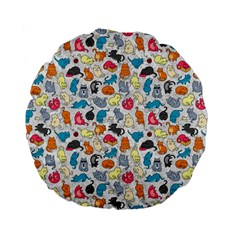 Funny Cute Colorful Cats Pattern Standard 15  Premium Flano Round Cushions