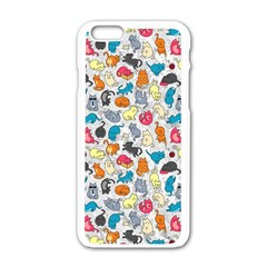 Funny Cute Colorful Cats Pattern Apple Iphone 6/6s White Enamel Case