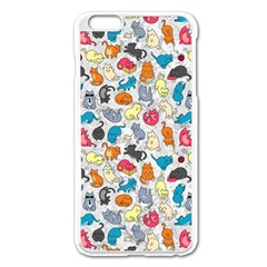 Funny Cute Colorful Cats Pattern Apple Iphone 6 Plus/6s Plus Enamel White Case by EDDArt