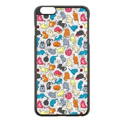 Funny Cute Colorful Cats Pattern Apple Iphone 6 Plus/6s Plus Black Enamel Case
