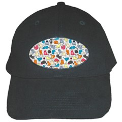Funny Cute Colorful Cats Pattern Black Cap