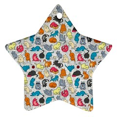 Funny Cute Colorful Cats Pattern Ornament (star) by EDDArt