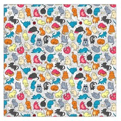 Funny Cute Colorful Cats Pattern Large Satin Scarf (square)