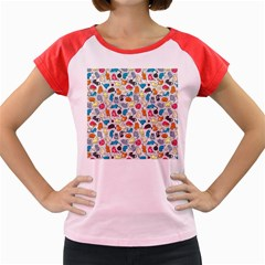 Funny Cute Colorful Cats Pattern Women s Cap Sleeve T Shirt