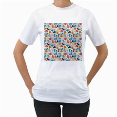 Funny Cute Colorful Cats Pattern Women s T Shirt (white) (two Sided)