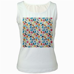 Funny Cute Colorful Cats Pattern Women s White Tank Top