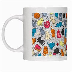 Funny Cute Colorful Cats Pattern White Mugs by EDDArt