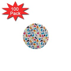 Funny Cute Colorful Cats Pattern 1  Mini Magnets (100 Pack)