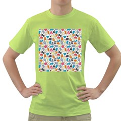 Funny Cute Colorful Cats Pattern Green T Shirt
