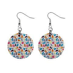 Funny Cute Colorful Cats Pattern Mini Button Earrings