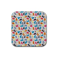 Funny Cute Colorful Cats Pattern Rubber Square Coaster (4 Pack)