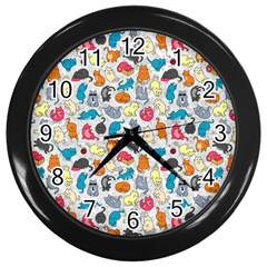 Funny Cute Colorful Cats Pattern Wall Clock (black)