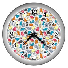 Funny Cute Colorful Cats Pattern Wall Clock (silver)