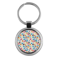 Funny Cute Colorful Cats Pattern Key Chains (round)