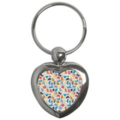 Funny Cute Colorful Cats Pattern Key Chains (heart)