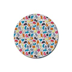 Funny Cute Colorful Cats Pattern Rubber Round Coaster (4 Pack)