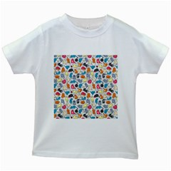Funny Cute Colorful Cats Pattern Kids White T Shirts