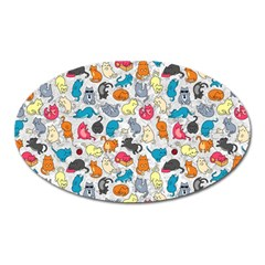 Funny Cute Colorful Cats Pattern Oval Magnet