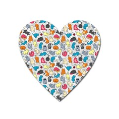 Funny Cute Colorful Cats Pattern Heart Magnet