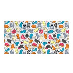 Funny Cute Colorful Cats Pattern Satin Wrap