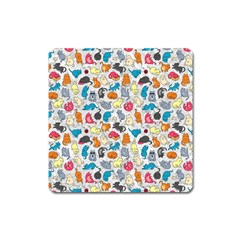 Funny Cute Colorful Cats Pattern Square Magnet